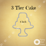 3 Tier Cake 3D Printed Cookie Cutter - 4 inch - Piping Mad Prints - Green Bros Collective