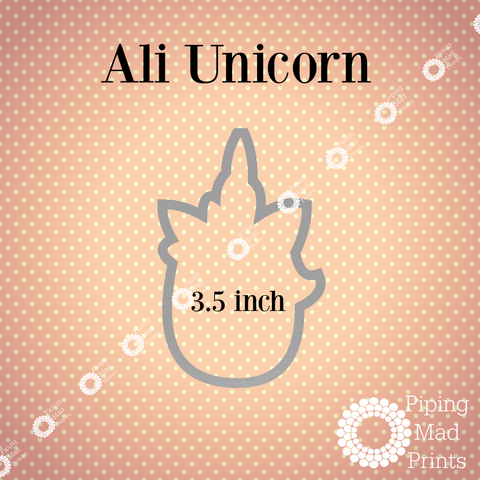 Ali Unicorn 3D Printed Cookie Cutter - 3.5 inch - Piping Mad Prints - Green Bros Collective