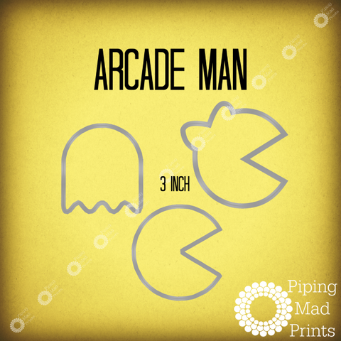 Arcade Man 3D Printed Cookie Cutter - Set of 3