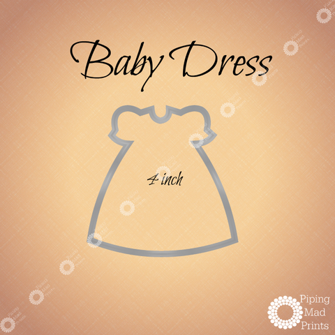 Baby Dress 3D Printed Cookie Cutter - 4 inch - Piping Mad Prints - Green Bros Collective