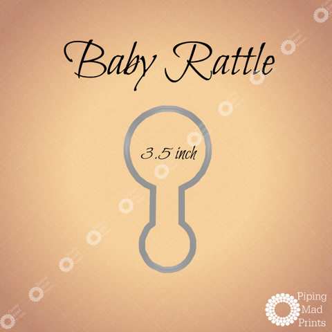 Baby Rattle 3D Printed Cookie Cutter - 3.5 inch - Piping Mad Prints - Green Bros Collective