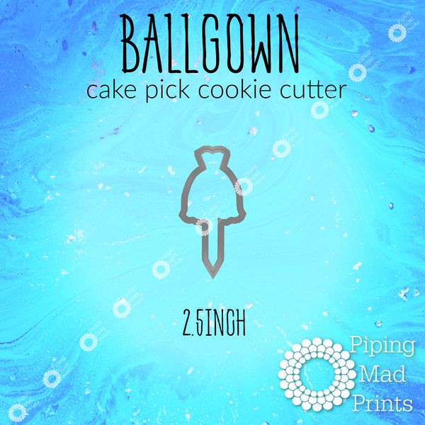 Ballgown 3D Printed Cake Pick Cookie Cutter - 2.5 inch