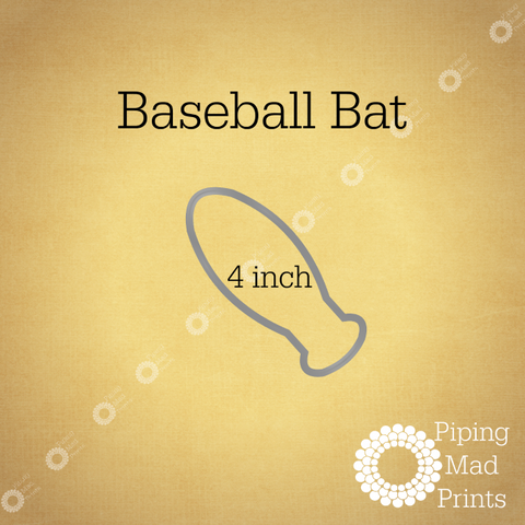Baseball Bat 3D Printed Cookie Cutter - 4 inch - Piping Mad Prints - Green Bros Collective