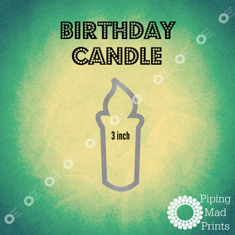 Birthday Candle 3D Printed Cookie Cutter - 3 inch - Piping Mad Prints - Green Bros Collective