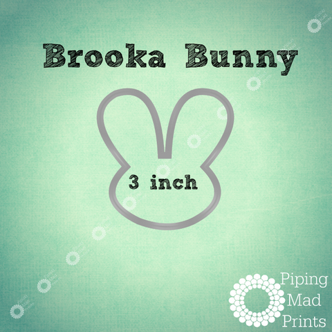 Brooka Bunny 3D Printed Cookie Cutter - 3 inch - Piping Mad Prints - Green Bros Collective
