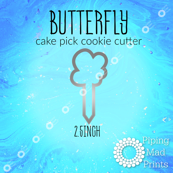 Butterfly 3D Printed Cake Pick Cookie Cutter - 2.5inch