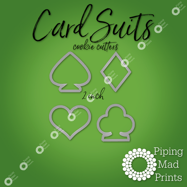 Card Suits 3D Printed Cookie Cutter Set of 4 - 2 inch