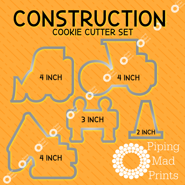 Construction 3D Printed Cookie Cutter Set of 5 - 4 inch