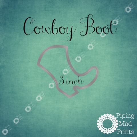 Cowboy Boot 3D Printed Cookie Cutter - 3 inch - Piping Mad Prints - Green Bros Collective