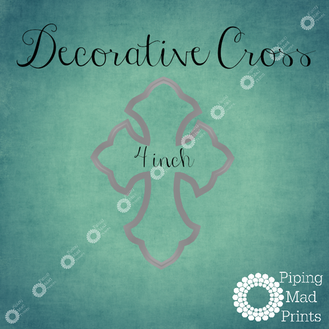 Decorative Cross 3D Printed Cookie Cutter - 4 inch
