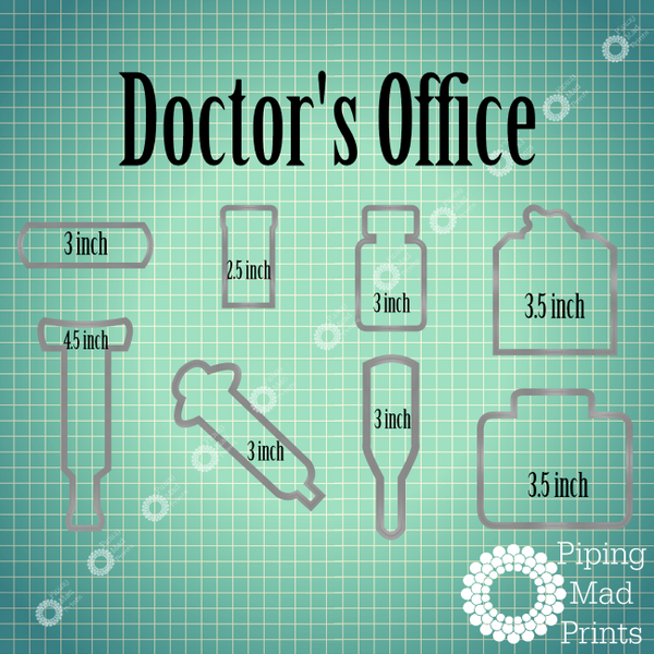 Doctor's Office 3D Printed Cookie Cutter Set of 8