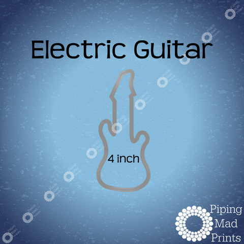 Electric Guitar 3D Printed Cookie Cutter - 4 inch - Piping Mad Prints - Green Bros Collective