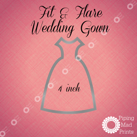 Fit & Flare Wedding Gown 3D Printed Cookie Cutter - 4 inch - Piping Mad Prints - Green Bros Collective