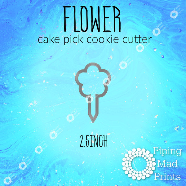 Flower 3D Printed Cake Pick Cookie Cutter - 2.5 inch
