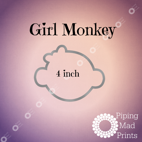 Girl Monkey 3D Printed Cookie Cutter - 4 inch - Piping Mad Prints - Green Bros Collective