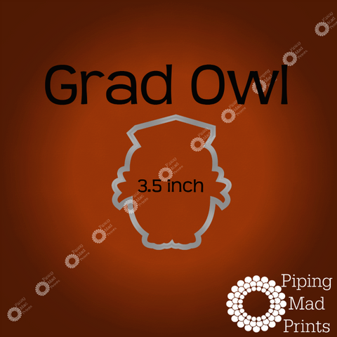 Grad Owl 3D Printed Cookie Cutter - 3.5 inch - Piping Mad Prints - Green Bros Collective