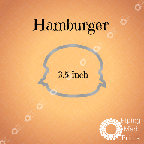 Hamburger 3D Printed Cookie Cutter - 3.5 inch - Piping Mad Prints - Green Bros Collective