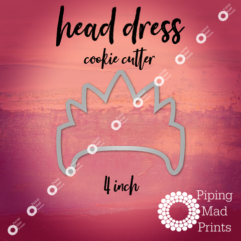 Head Dress 3D Printed Cookie Cutter - 4 inch