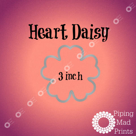 Heart Daisy 3D Printed Cookie Cutter - 3 inch - Piping Mad Prints - Green Bros Collective