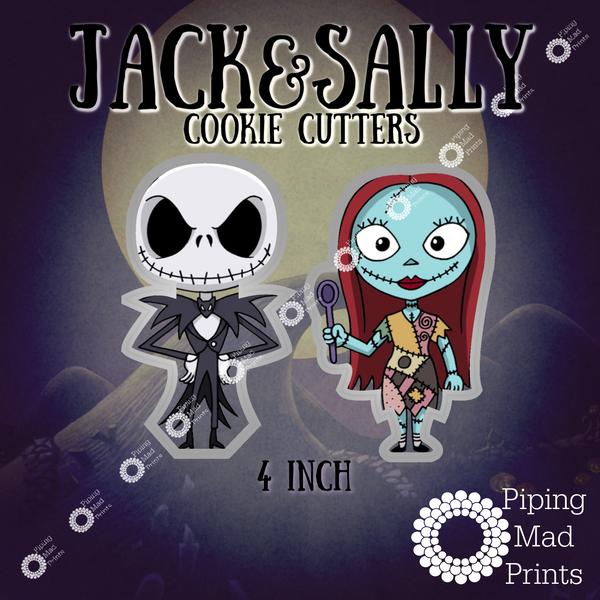 Jack & Sally 3D Printed Cookie Cutter Set of 2 - 4 inch
