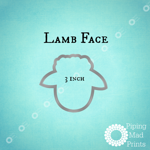 Lamb Face 3D Printed Cookie Cutter - 3 inch - Piping Mad Prints - Green Bros Collective