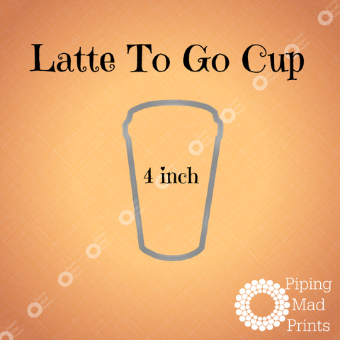 Latte To Go Cup 3D Printed Cookie Cutter - 4 inch - Piping Mad Prints - Green Bros Collective