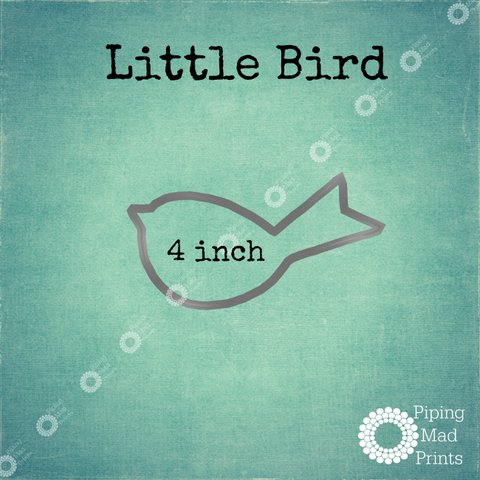 Little Bird 3D Printed Cookie Cutter - 4 inch - Piping Mad Prints - Green Bros Collective