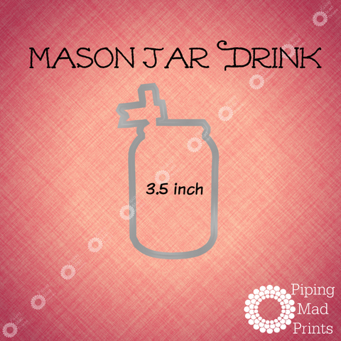 Mason Jar Drink 3D Printed Cookie Cutter - 3.5 inch - Piping Mad Prints - Green Bros Collective
