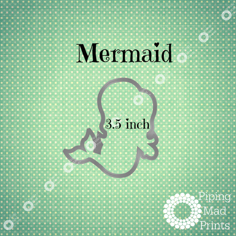 Mermaid 3D Printed Cookie Cutter - 3.5 inch - Piping Mad Prints - Green Bros Collective