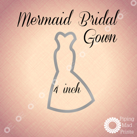 Mermaid Bridal Gown 3D Printed Cookie Cutter - 4 inch - Piping Mad Prints - Green Bros Collective