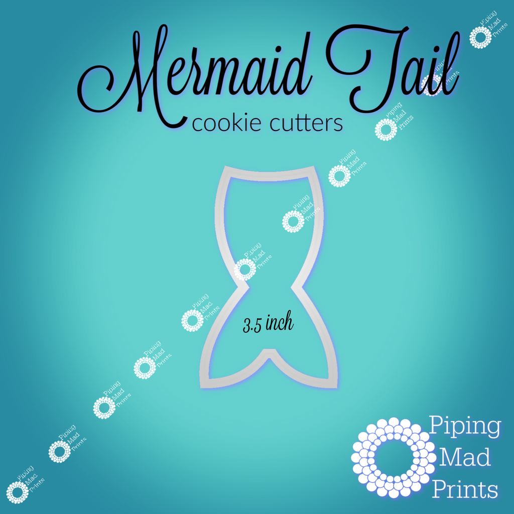 Mermaid Tail 3D Printed Cookie Cutter - 3.5 inch