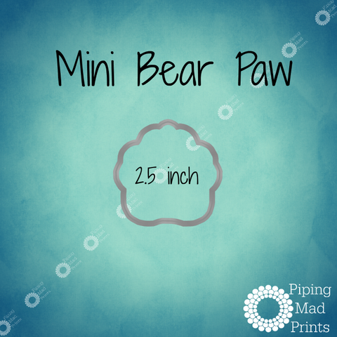 Mini Bear Paw 3D Printed Cookie Cutter - 2.5 inch - Piping Mad Prints - Green Bros Collective