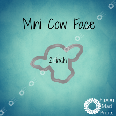 Mini Cow Face 3D Printed Cookie Cutter - 2 inch - Piping Mad Prints - Green Bros Collective