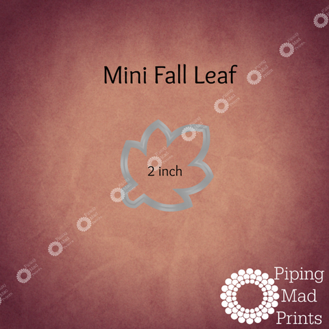 Mini Fall Leaf 3D Printed Cookie Cutter - 2 inch - Piping Mad Prints - Green Bros Collective