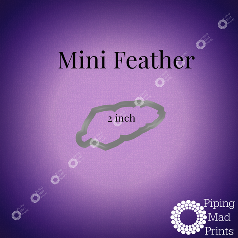 Mini Feather 3D Printed Cookie Cutter - 2 inch - Piping Mad Prints - Green Bros Collective