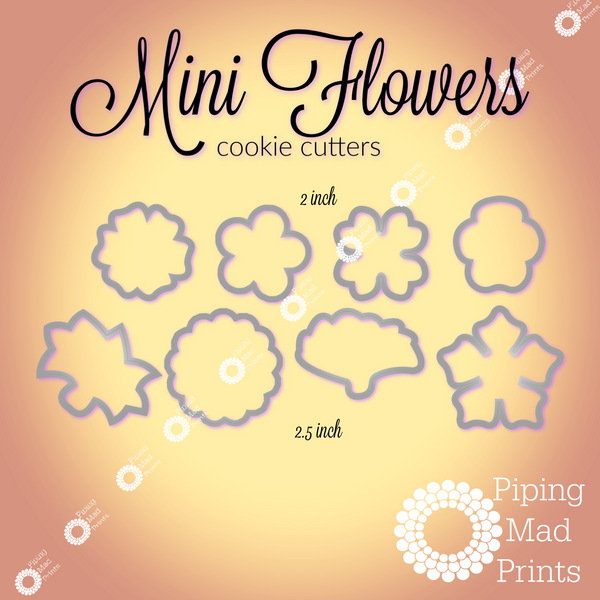 Mini Flowers 3D Printed Cookie Cutter Set of 8 - 2 and 2.5 inch