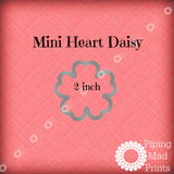 Mini Heart Daisy 3D Printed Cookie Cutter - 2 inch - Piping Mad Prints - Green Bros Collective