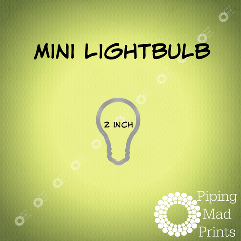 Mini Lightbulb 3D Printed Cookie Cutter - 2 inch - Piping Mad Prints - Green Bros Collective