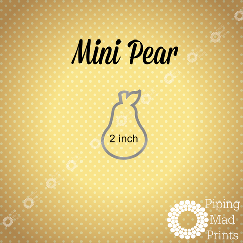 Mini Pear 3D Printed Cookie Cutter - 2 inch - Piping Mad Prints - Green Bros Collective