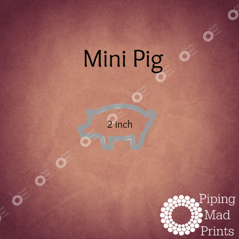 Mini Pig 3D Printed Cookie Cutter - 2 inch - Piping Mad Prints - Green Bros Collective