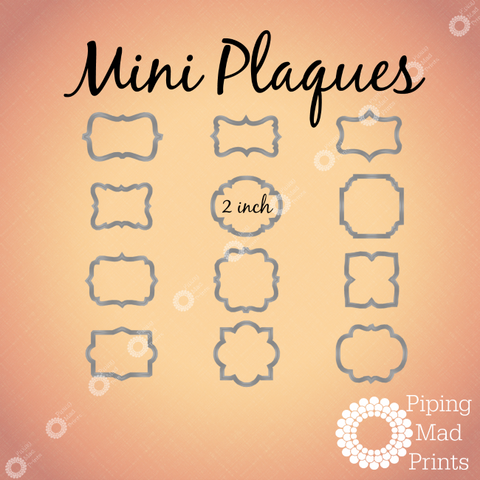 Mini Plaque Cookie Cutter Set of 12 - 2 inches