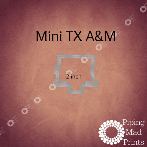 Mini Texas A&M 3D Printed Cookie Cutter - 2 inch - Piping Mad Prints - Green Bros Collective