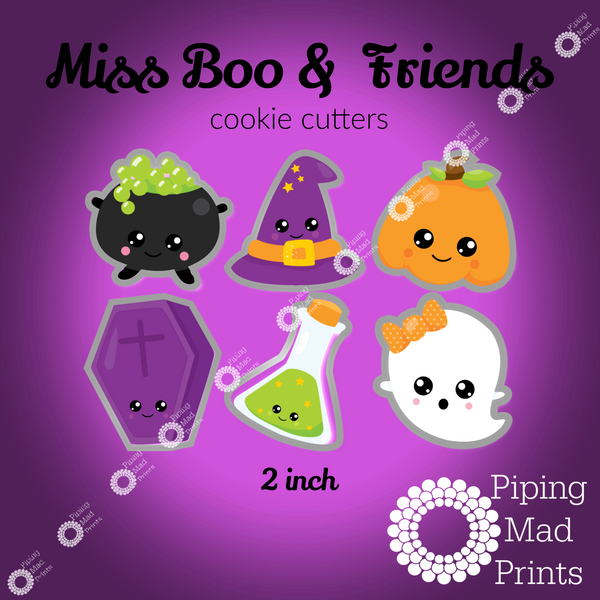 Miss Boo & Friends 3D Printed Cookie Cutter Set of 6 - 2 inch