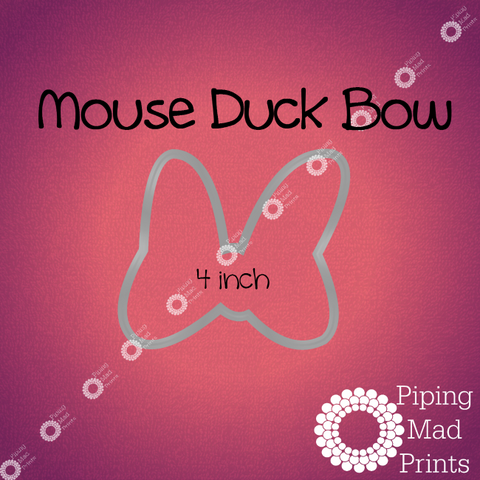 Mouse Duck Bow 3D Printed Cookie Cutter - 4 inch - Piping Mad Prints - Green Bros Collective