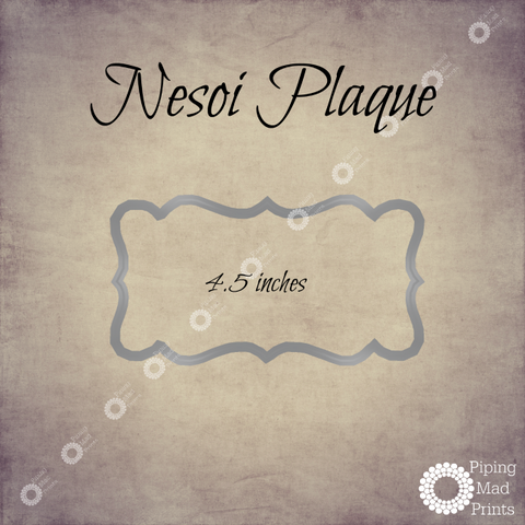 Nesoi Plaque 3D Printed Cookie Cutter - 4.5 inch - Piping Mad Prints - Green Bros Collective