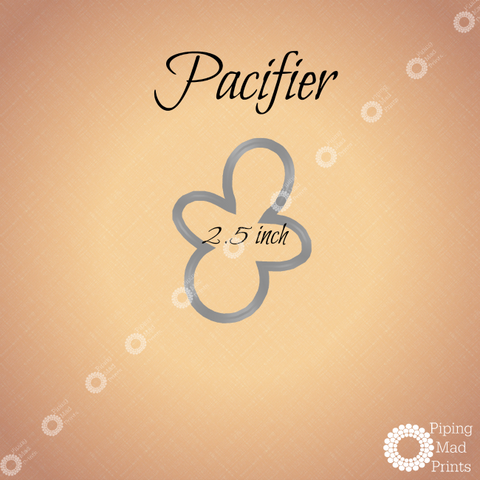 Pacifier 3D Printed Cookie Cutter - 2.5 inch - Piping Mad Prints - Green Bros Collective