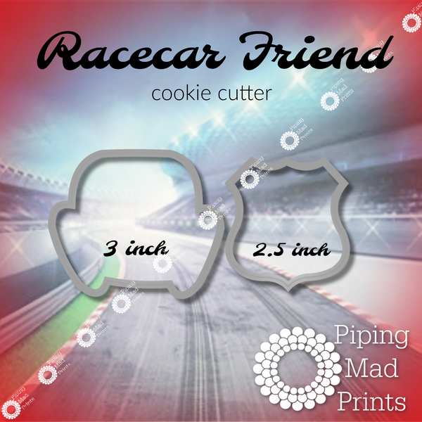 Racecar Friend 3D Printed Cookie Cutter Set of 2 - 3 inch