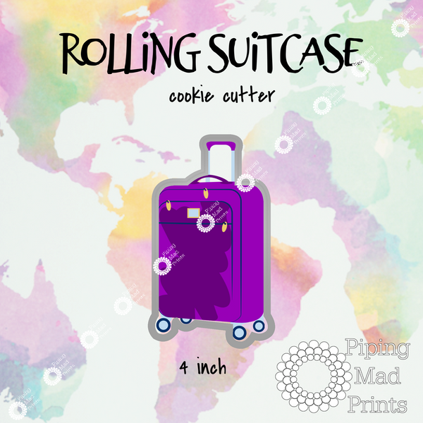 Rolling Suitcase 3D Printed Cookie Cutter - 4 inch