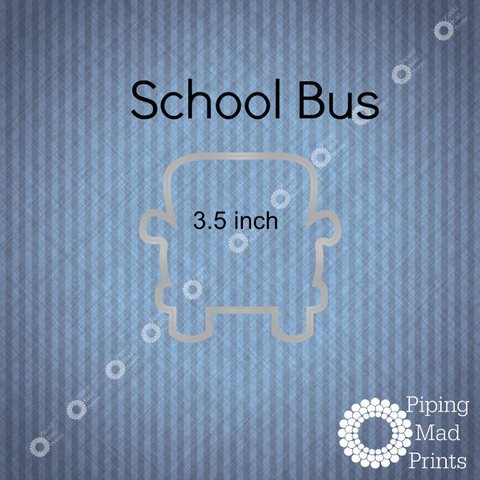 School Bus 3D Printed Cookie Cutter - 3.5 inch - Piping Mad Prints - Green Bros Collective