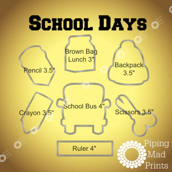 School Days 3D Printed Cookie Cutter Set of 7